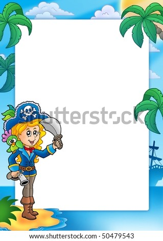Frame with pretty pirate girl - color illustration. - stock photo