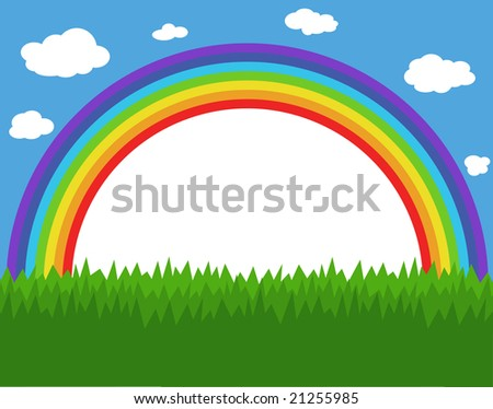 Frame with rainbow, sky and grass - stock photo