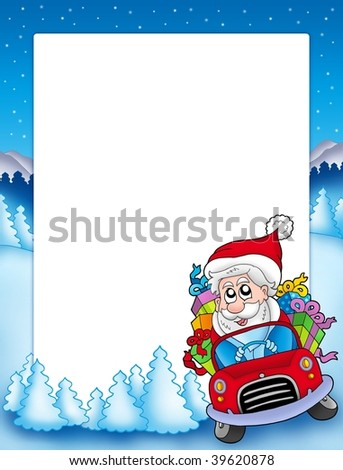 Frame with Santa Claus driving car - color illustration. - stock photo