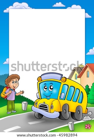 Frame with school bus and boy - color illustration. - stock photo