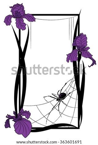 frame with spider and flowers of iris - stock photo