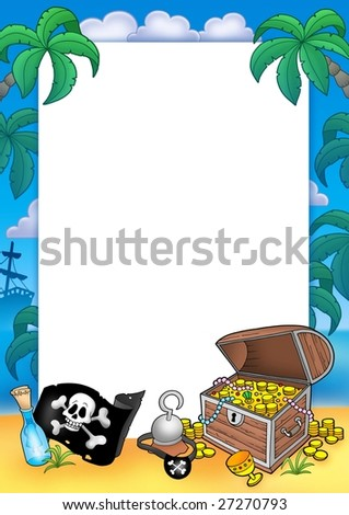 Frame with treasure chest - color illustration. - stock photo