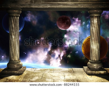 Frame with two medieval columns and space scene - stock photo