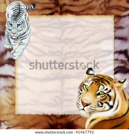 frame with two tigers - stock photo