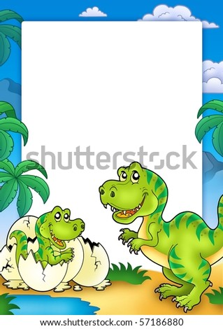 Frame with tyrannosaurus rex - color illustration. - stock photo
