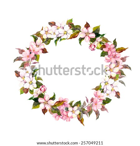Frame wreath with cherry, apple, almond flowers blossom. Watercolor - stock photo
