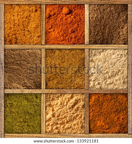 Framed collection of spices - stock photo