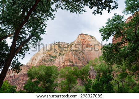 Framed Mountain at Zion National Park - stock photo