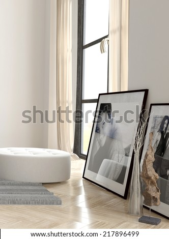 Framed Photographs and White Bench near Large Window in Apartment - stock photo
