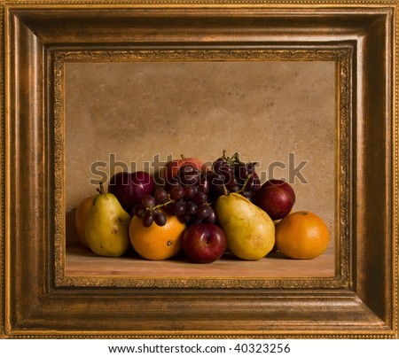Framed still life fruit arrangement - stock photo