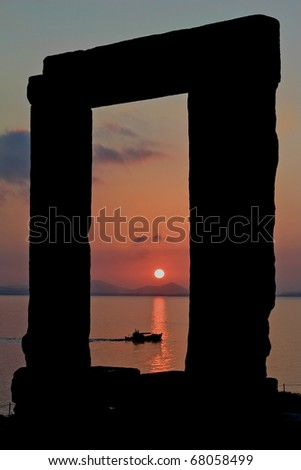 Framed Sunset on Water - stock photo