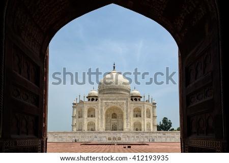 Framed Taj Mahal, Agra, India - stock photo