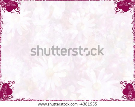 Framed valentine background with hearts and light flowers.