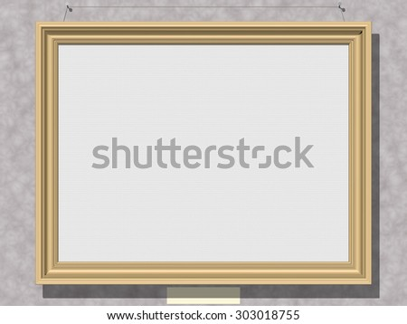 Framed white canvas, as horizontal copyspace, hanging on a wall. Rendered 3d design.