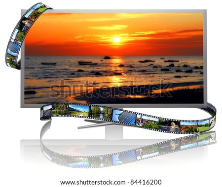 Frames of film and lcd display - stock photo