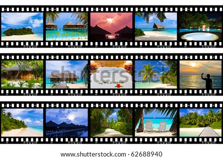 Frames of film - nature and travel (my photos), isolated on white background - stock photo