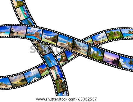 Frames of film - nature and travel (my photos) isolated on white background - stock photo