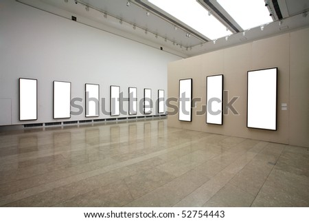 frames on cement white wall - stock photo