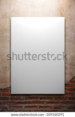 frames on on old grunge brick wall - stock photo