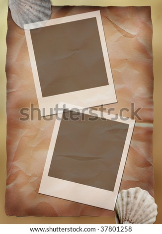 Frames on retro paper background