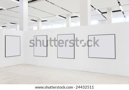 Frames on showroom wall - stock photo