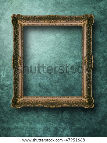 frames on the grunge wall - stock photo
