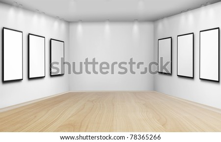 frames on  white wall - stock photo