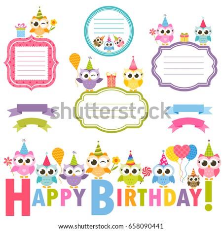 Frames Funny Owls Birthday Card Raster Stock Illustration 658090441 ...