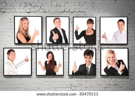 frames with ok gesture people on white brick wall collage