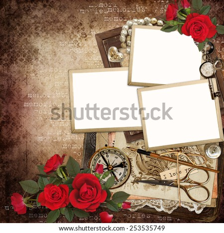 Frames with retro decoration and red roses on vintage background - stock photo