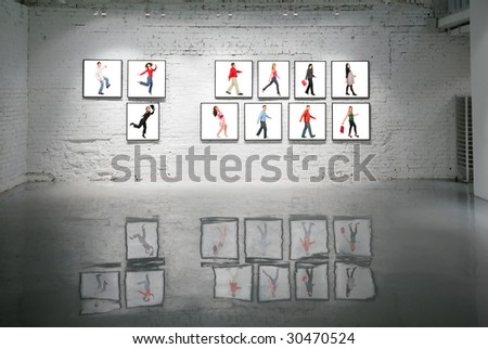 frames with walking people on white brick wall and reflections on floor collage - stock photo
