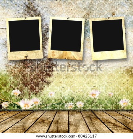 Framework for a photo on a vintage background. Summer landscape. - stock photo