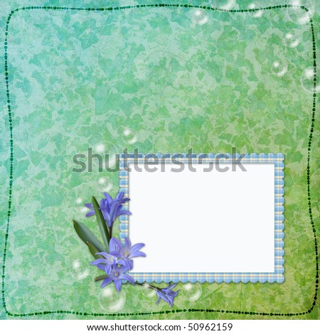 Framework for photo or congratulation with bunch of flowers.