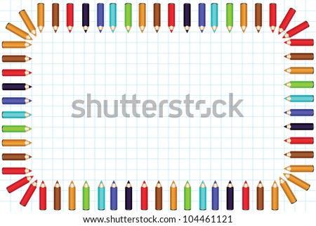 Framework from color pencils on a background in a cell. The edge of pencils is located inside