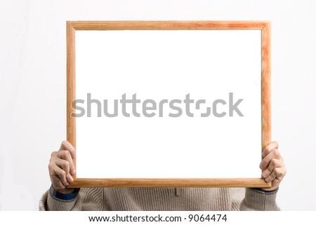 Framework  in hands - stock photo