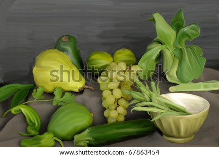 framework of fruits and vegetables - stock photo