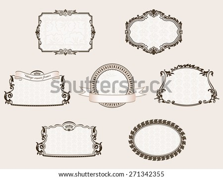 frameworks set. Ornate and vintage decor elements