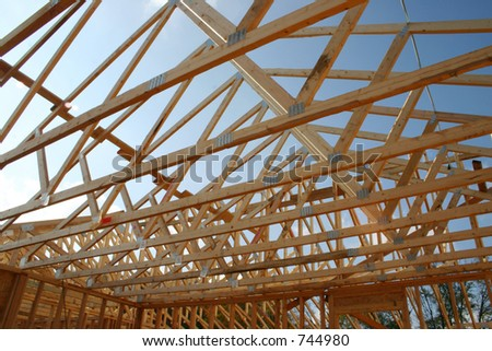 Framing of a new roof - stock photo