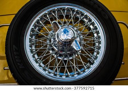 FRANCAVILLA,ITALY - JUNE 20.2015: Vintage spare wheel particular - stock photo