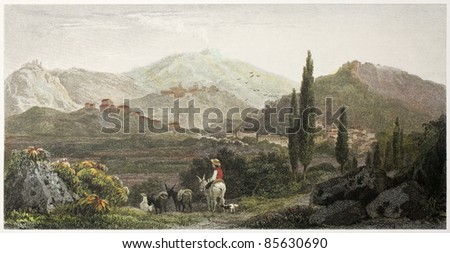 Francavilla old view, Sicily. Created by De Wint and Wallis, printed by McQueen, publ. in London, 1821. Ed. on Sicilian Scenery, Rodwell and Martins, London, 1823 - stock photo
