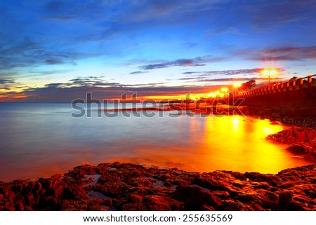 France. A decline in Cannes. Embankment at night. - stock photo