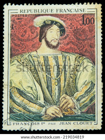 FRANCE - 1967: A stamp printed in France shows image of French Art, Francois I (after Jean Clouet), series, 1980 - stock photo