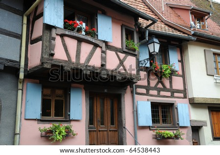 France, Alsace, old houses in Eguisheim