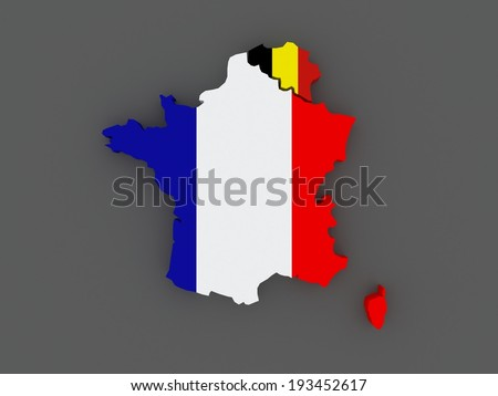 france and belgium map 3d