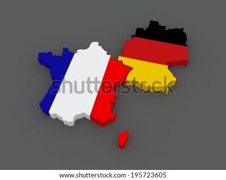 France and Germany. map. 3d