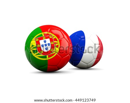 France and Portugal soccer balls isolated on white. 3D illustration - stock photo