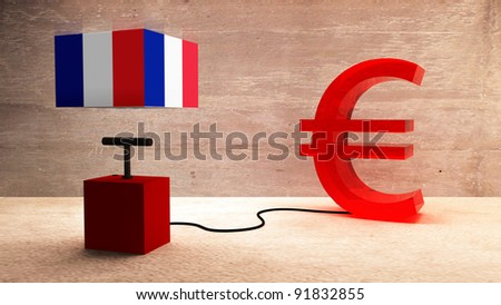 France and the euro - stock photo
