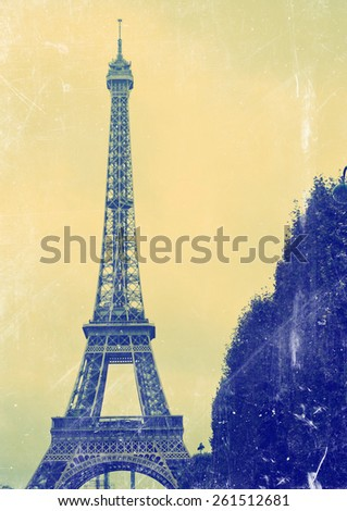 France background Eiffel tower  - stock photo