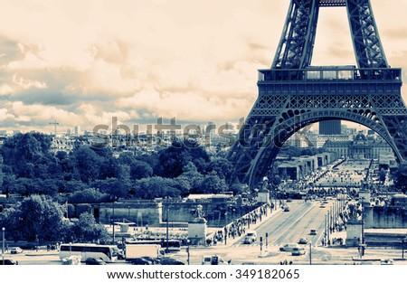 France background Eiffel tower - stock photo