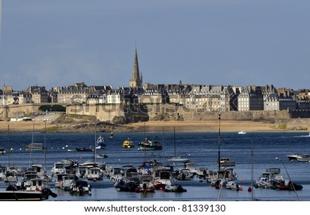 France, Brittany, Saint Malo - view from Dinard - stock photo